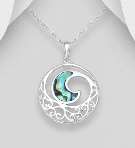 925 Sterling Silver Pendant & Chain Featuring Wave Decorated With Abalone Stone Shell